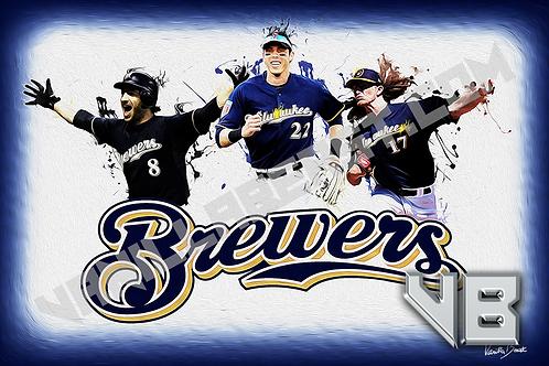 Brew Crew - Brewers Splatter Series | 12x18 Large Art Print