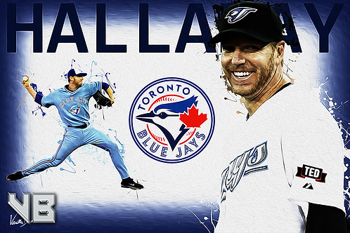 Roy Halladay - Blue Jays Splatter Series | 12x18 Large Art Print