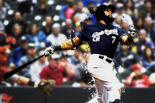 Eric Thames - Brewers Action Splatter Series | 12x18 Large Art Print