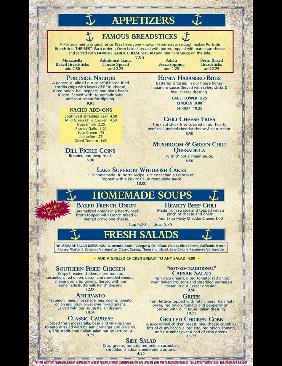 Portside Inn happy hour pizza breadsticks wine list deals marquette now