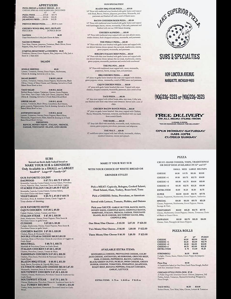 Lake Superior pizza subs specialties restaurant menu  hours location deals Marquette Now
