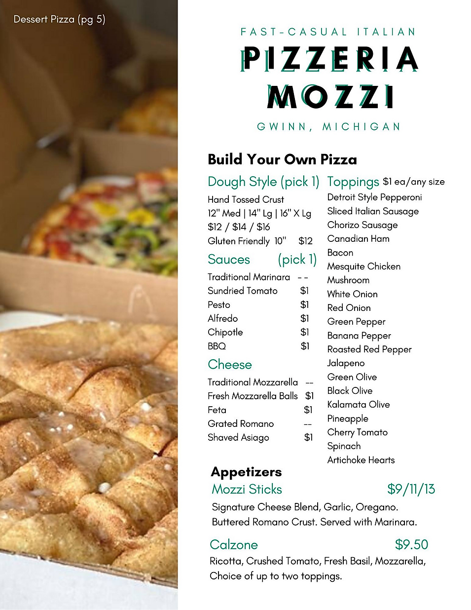 Pizzeria Mozzi fast casual italian pizza pasta dessert pizza menu deals marquette now