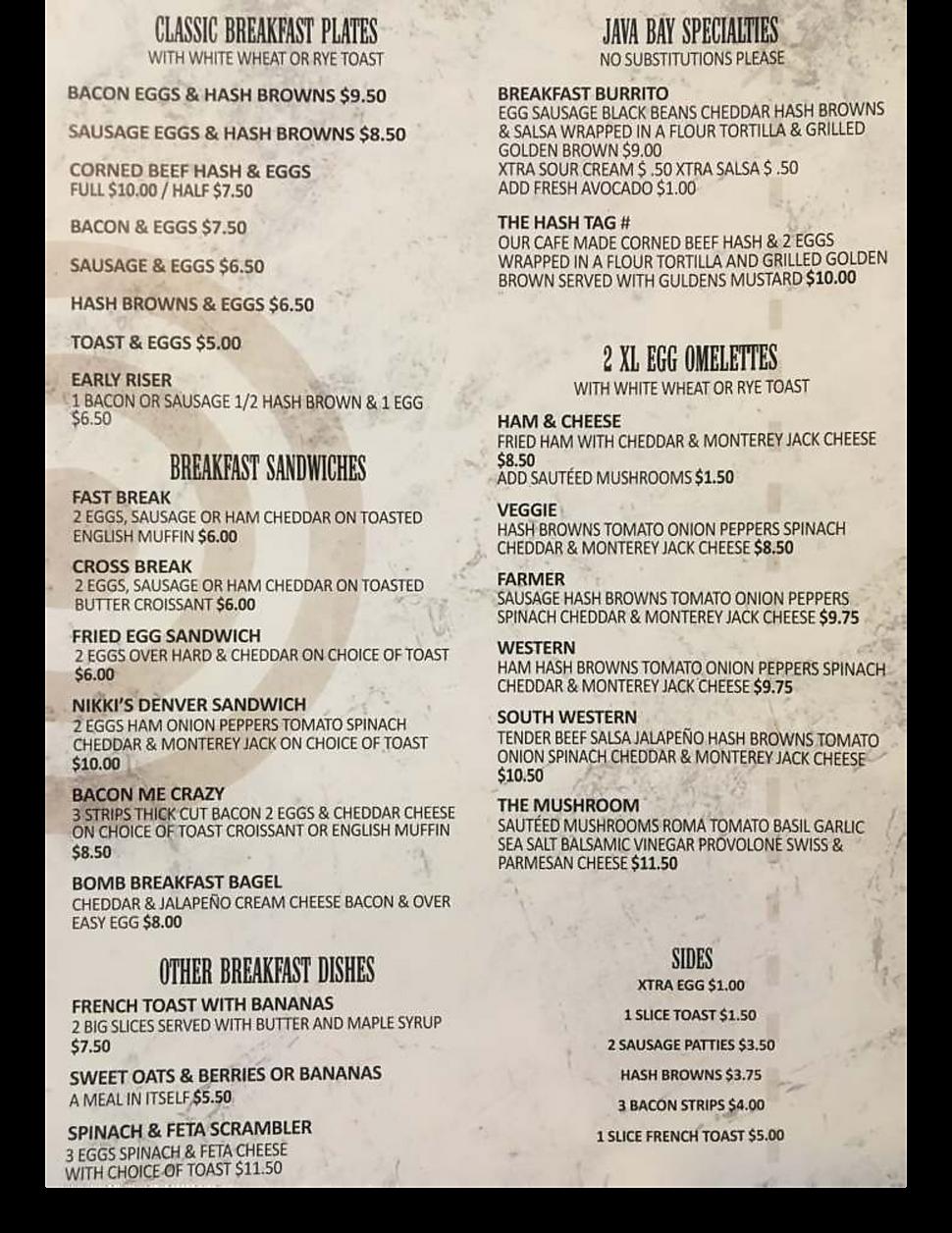 Java Bay restaurant menu breakfast Burrito hours location deals Marquette Now