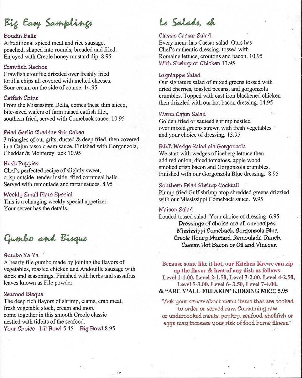 Lagniappe Cajun Creole Eatery shrimp wine list full bar cocktail list deals menu marquette now