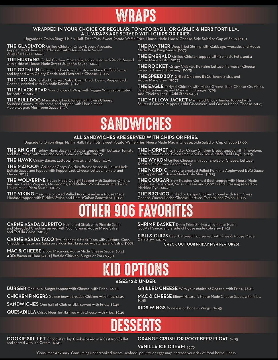 906 Sports bar and grillrestaurant menu happy hour hours location deals Marquette Now