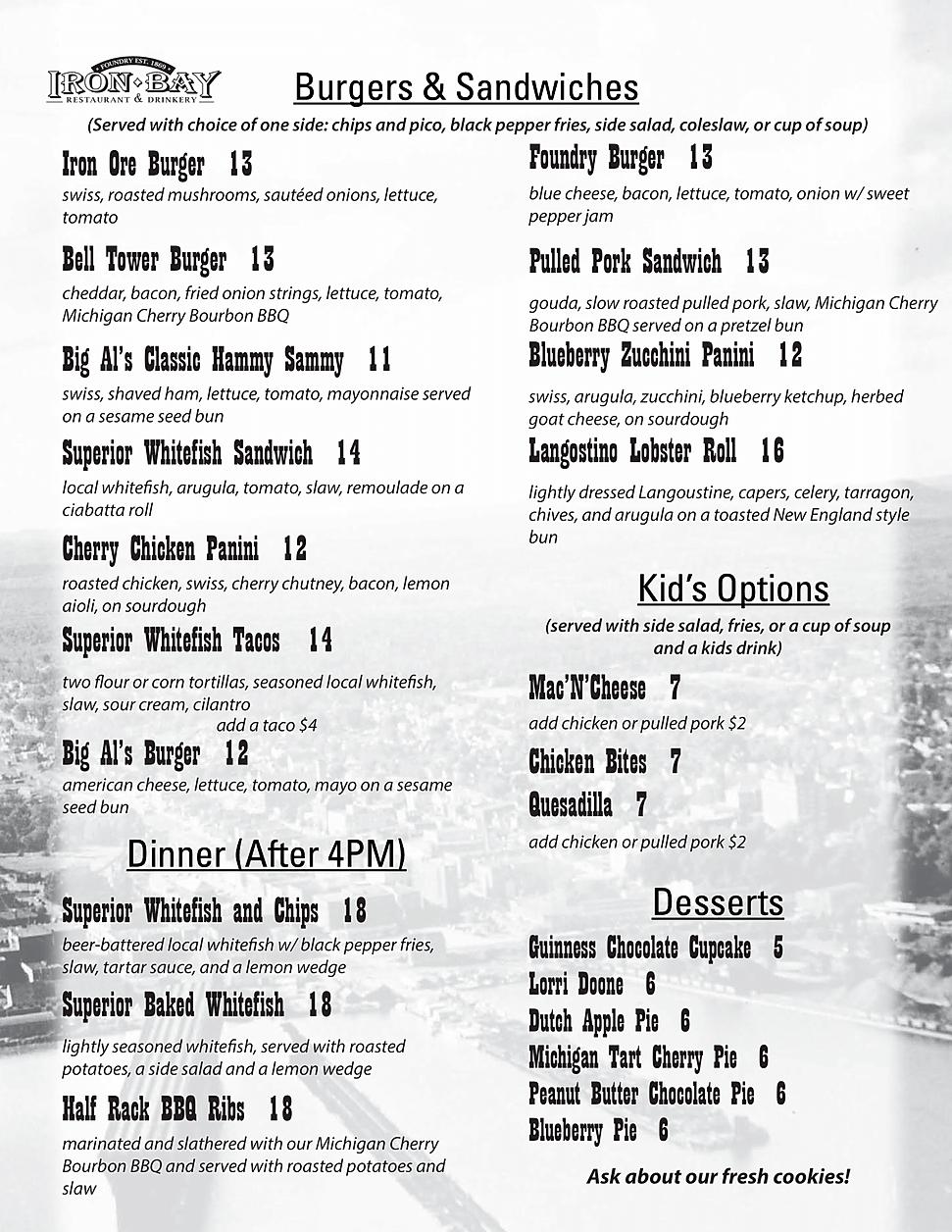 Iron bay restaurant drinkery taproom iron bay menu marquette restaurants