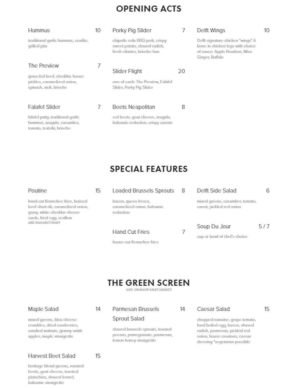 Delft Bistro restaurant menu wine list hours location deals Marquette Now