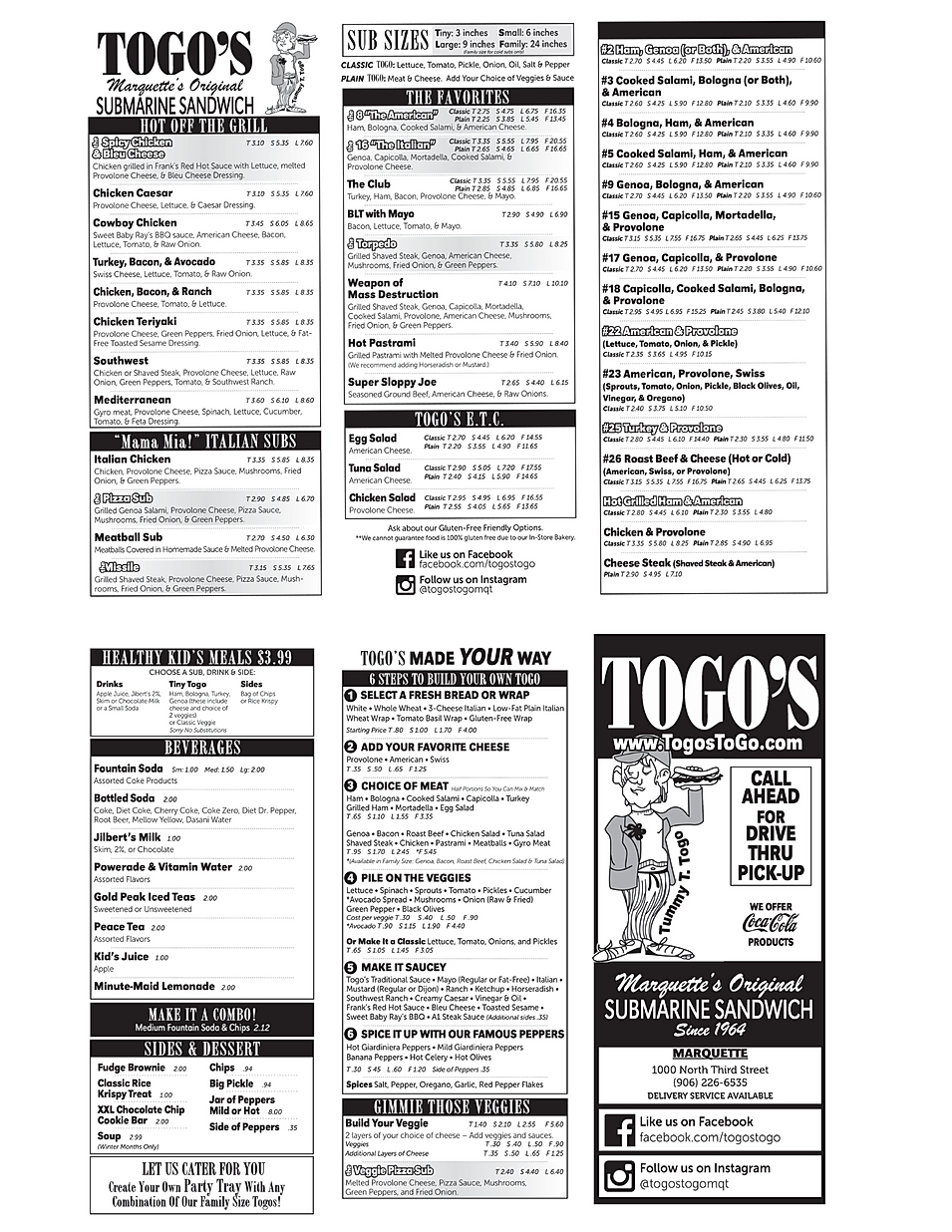 Togo's Submarine Sandwich restaurant menu delivery take out hours location deals Marquette Now