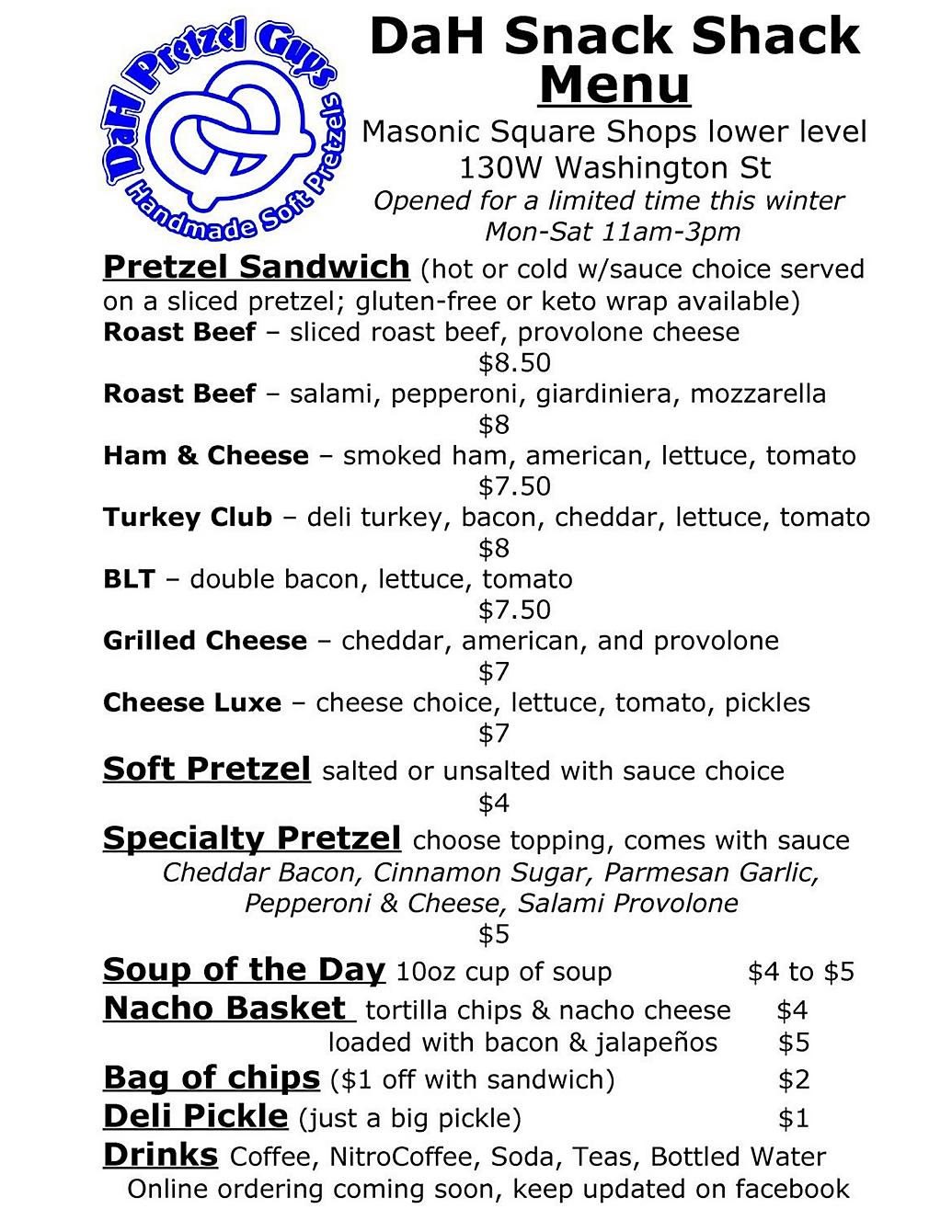 Dah Pretzel Guys restaurant menu happy hour hours food trucks location deals Marquette Now