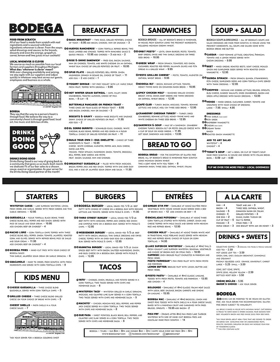 Bodega breakfast colectivo coffee Soup sandwiches restaurant menu hours location deals Marquette Now