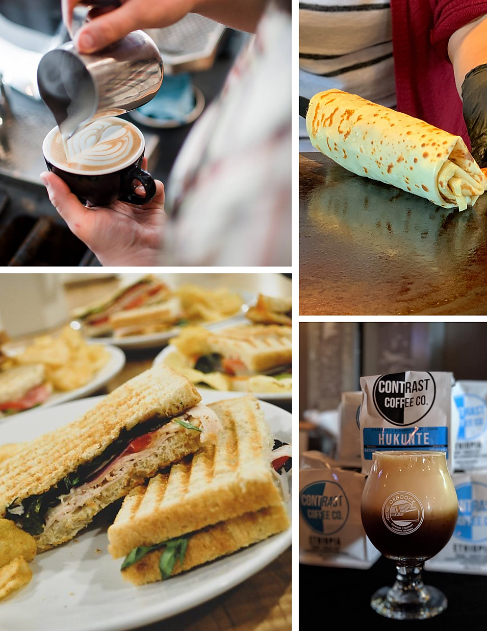 Contrast coffee espresso latte crepes bakery hours beans location deals Marquette Now