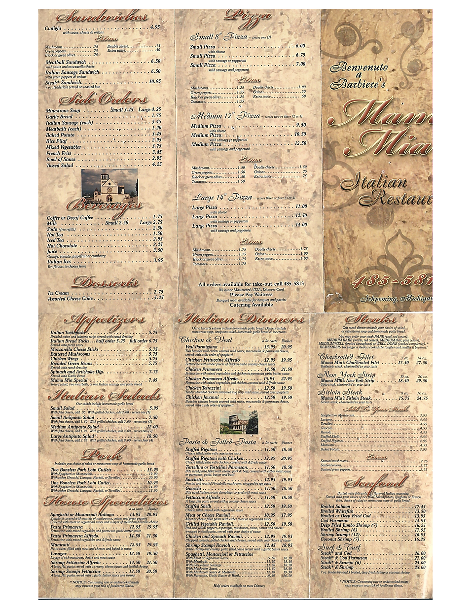 Mama Mias italian restaurant wine list full bar takeout deals marquette now