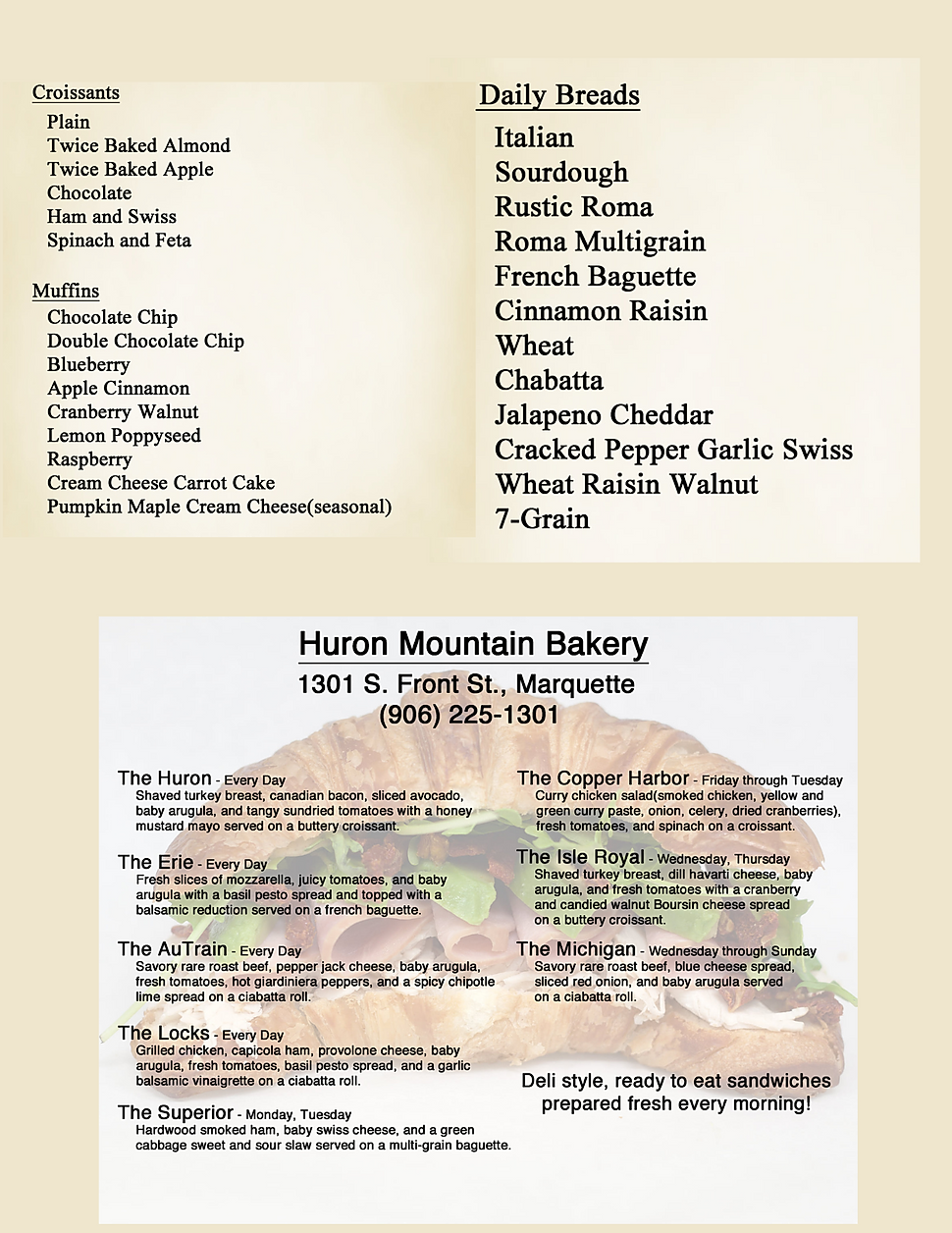 Huron Mountain Bakery cookies coffee bread restaurant menu hours location deals Marquette Now