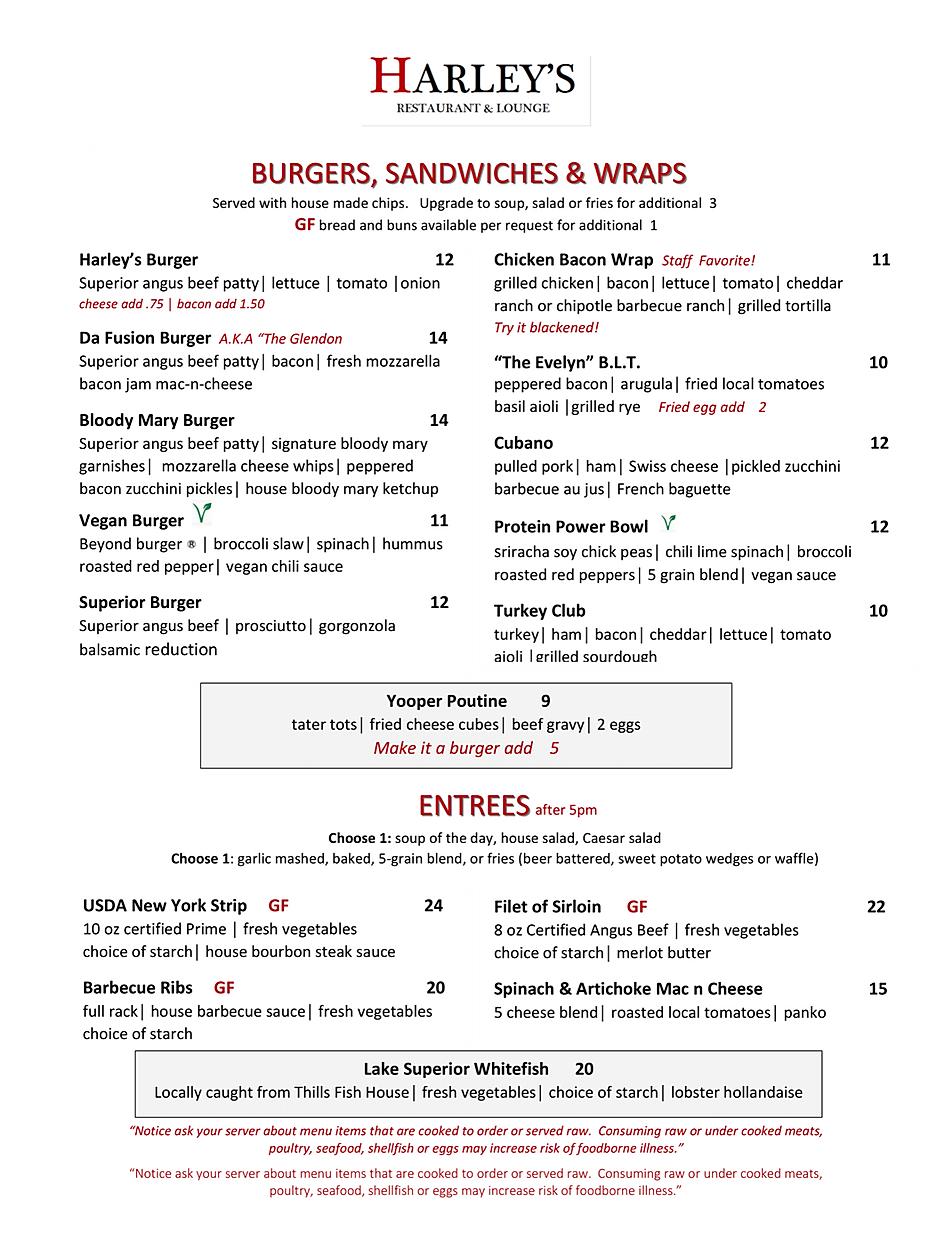 Harleys lounge restaurant menu wine list hours location deals Marquette Now