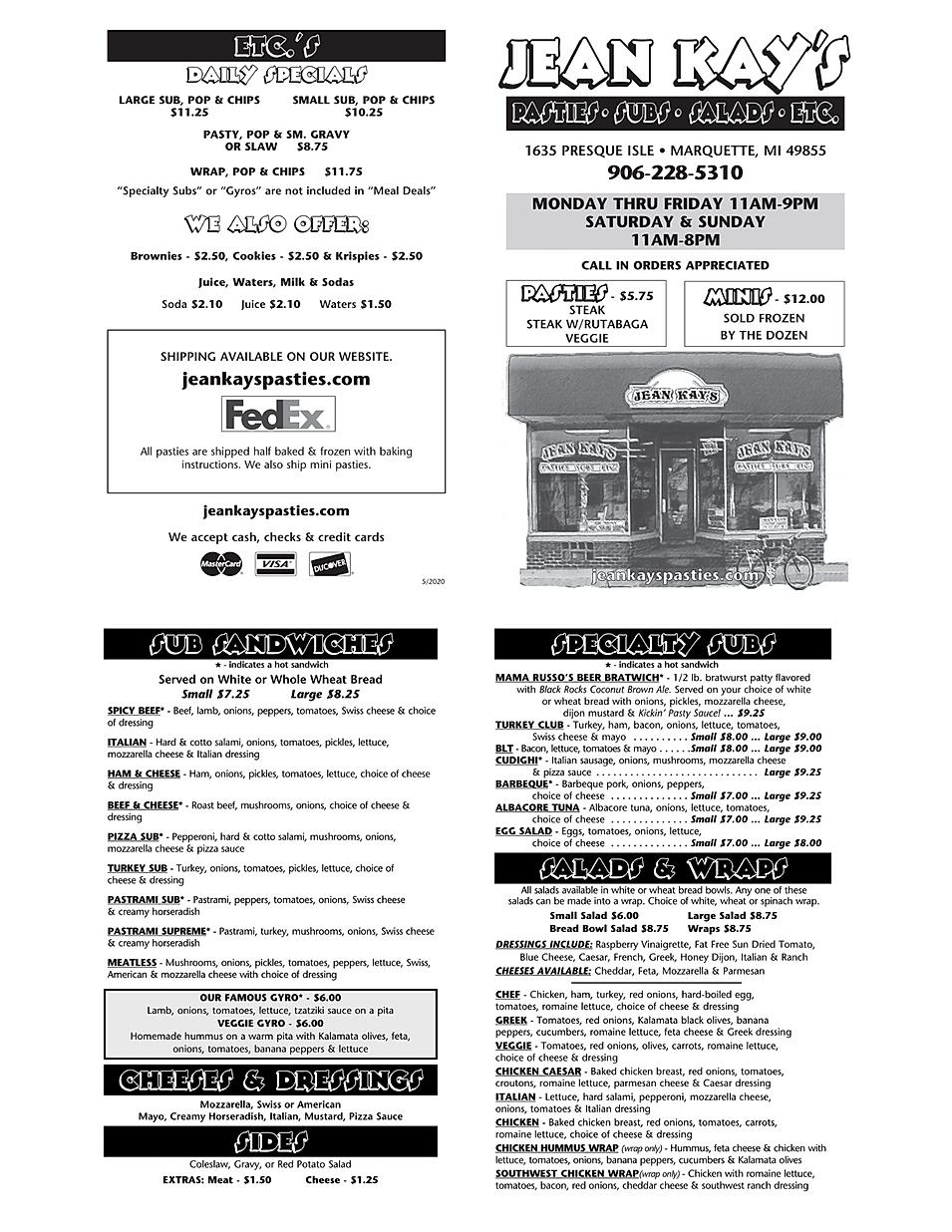 Jean Kays Pasties subs restaurant menu hours location deals Marquette Now
