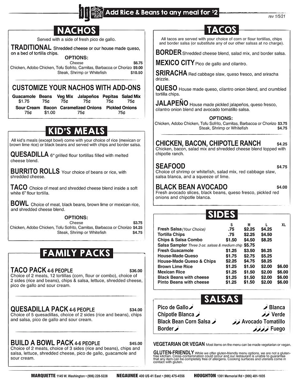 Border Grill restaurant menu happy hour hours location deals Marquette Now