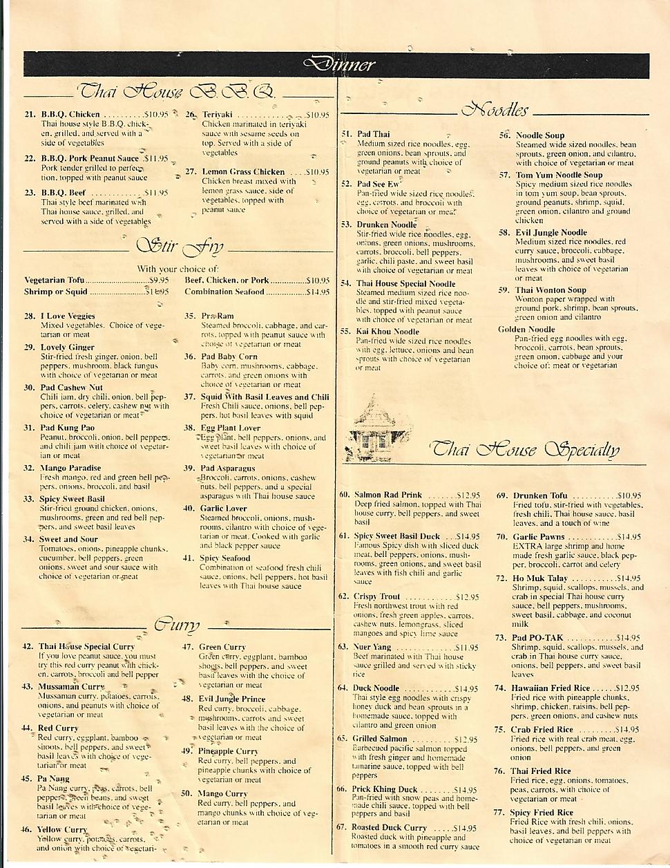 thai house restaurant menu wine list hours location deals Marquette Now