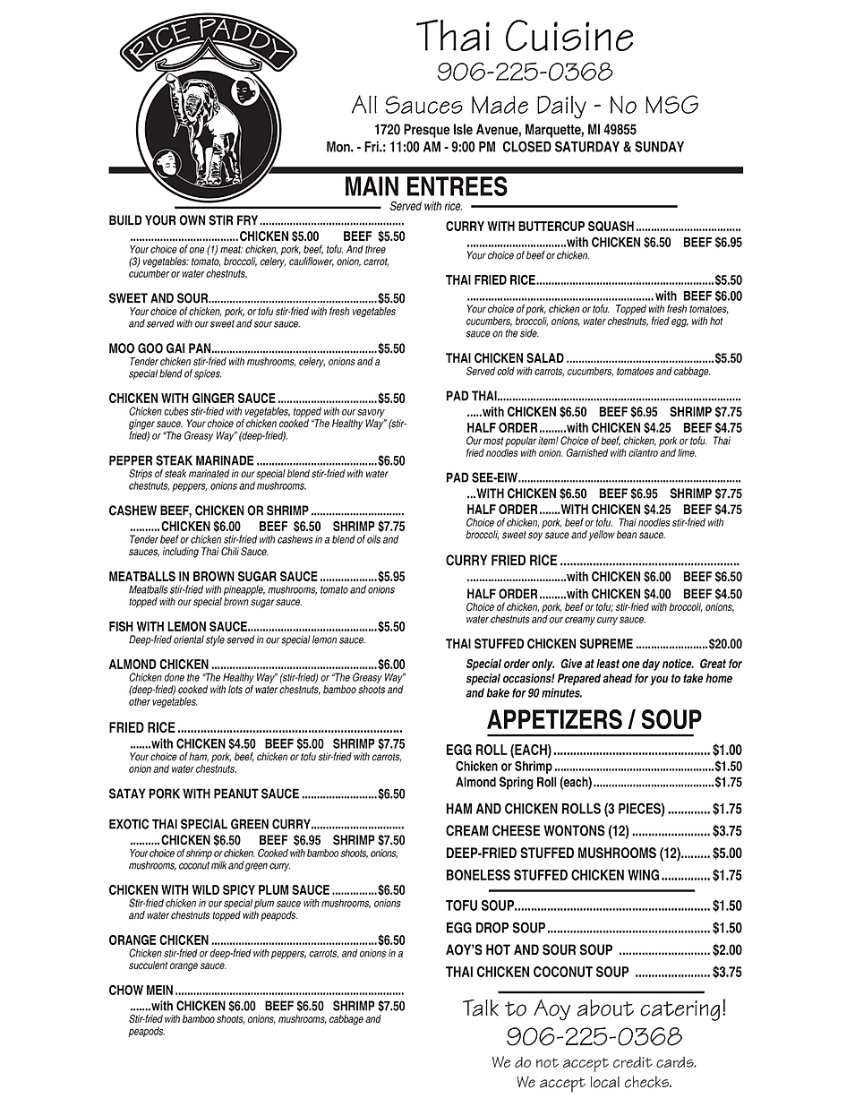 Rice Paddy restaurant menu hours location deals Marquette Now