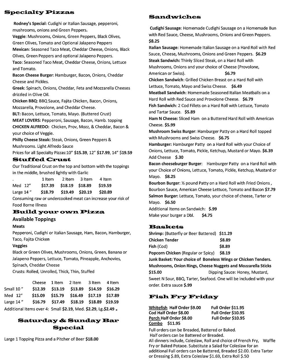 Rodney's pizza pizzeria restaurant menu list hours location deals Marquette Now