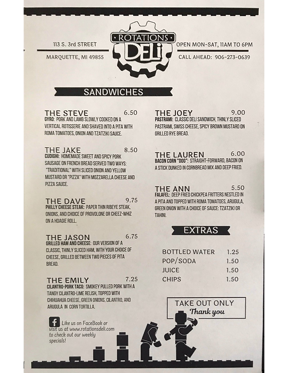 Rotations Deli restaurant menu hours location deals Marquette Now