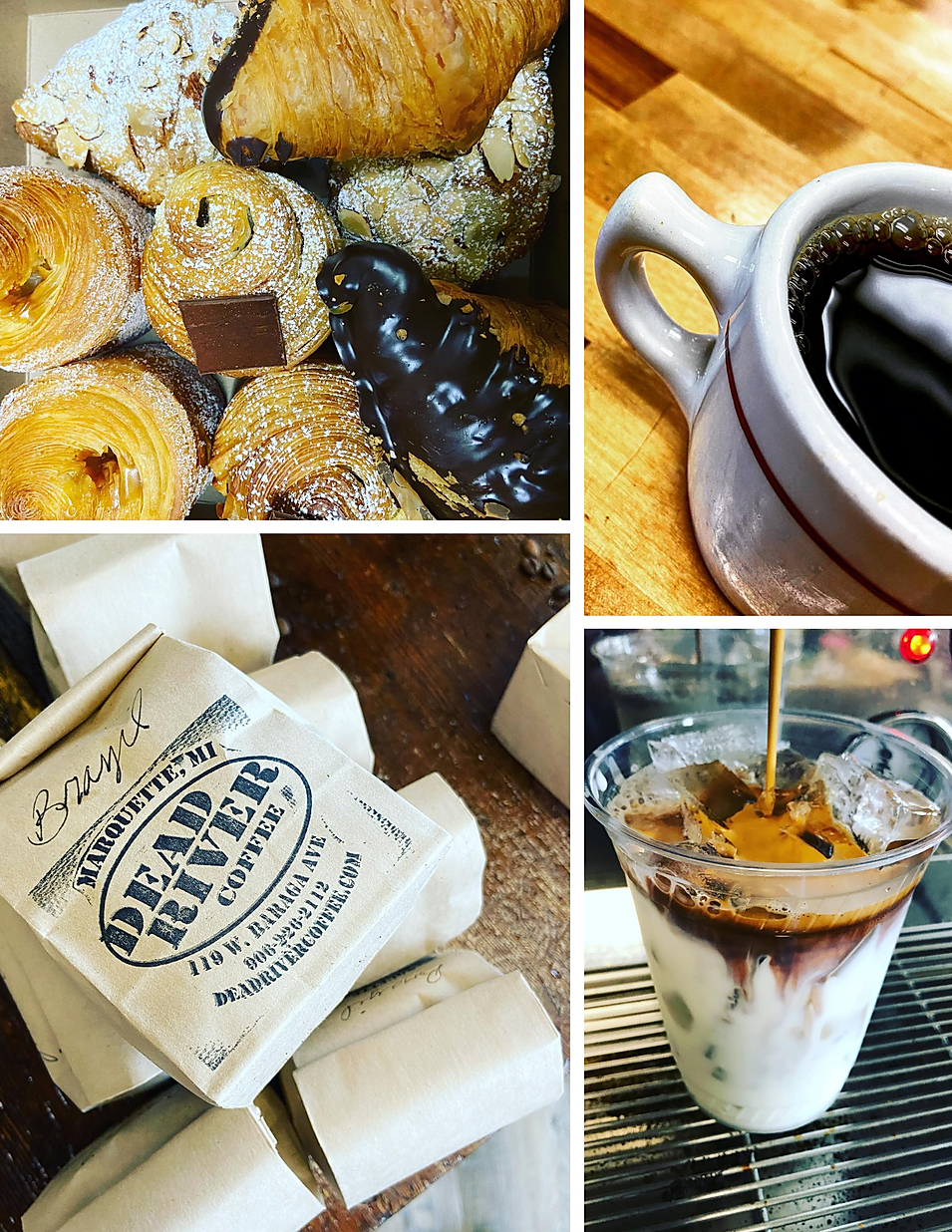 Dead River Coffee coffee roaster beans espresso latte hours pie pastry location deals Marquette Now