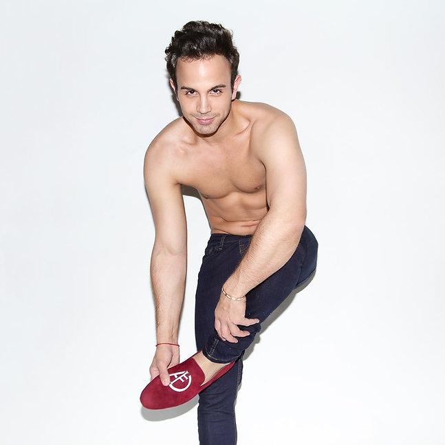On mekahel shirtless red shoes.jpg