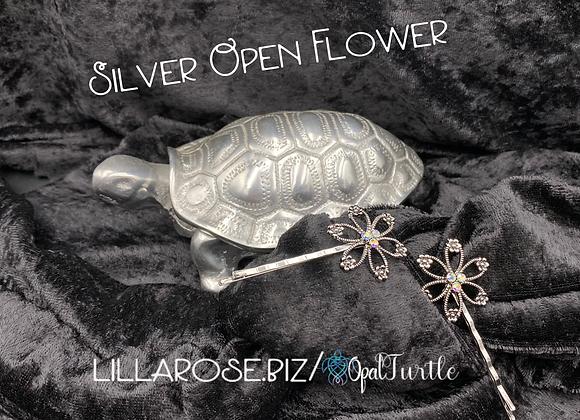Silver Open Flower bobbies