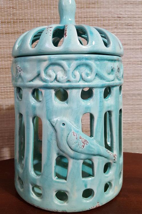 Gaiola Com Tampa Cerâmica Turquesa