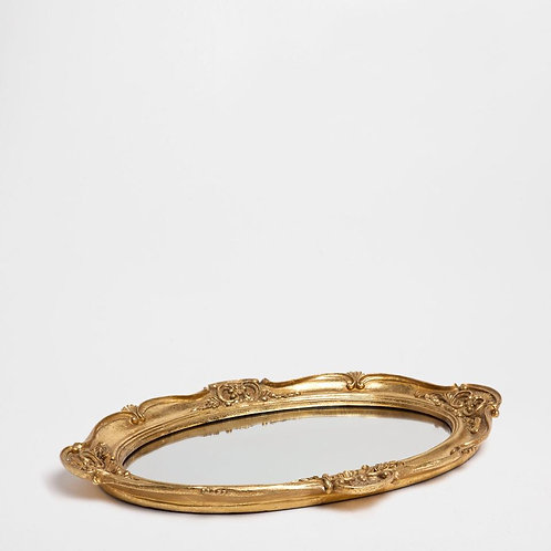 Bandeja Moldura Oval Gold
