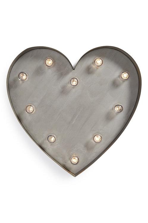 Coração Luminoso Galvanizado