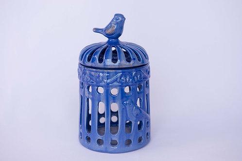 Gaiola Com Tampa Cerâmica Azul Hortênsia