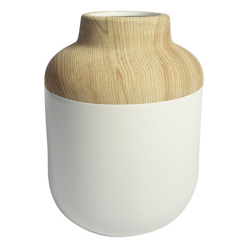 Vaso Branco com Madeira