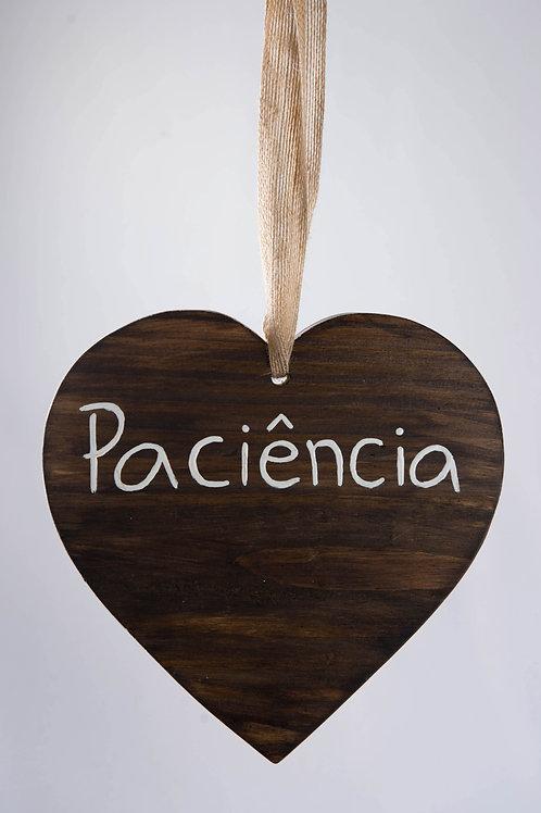 """Placa Coração """"Paciência"""""""