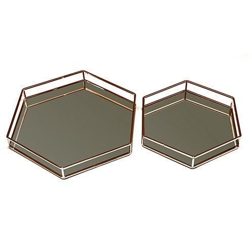 Bandeja Hexagonal Cobre M e G