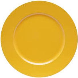 Sousplat Amarelo Borda Dourada