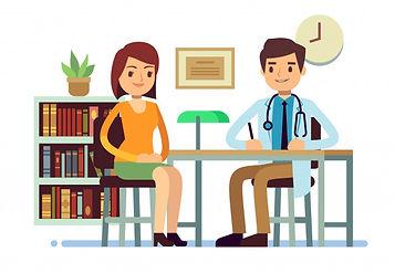 consulta-medica-medico-mujer-joven-vecto