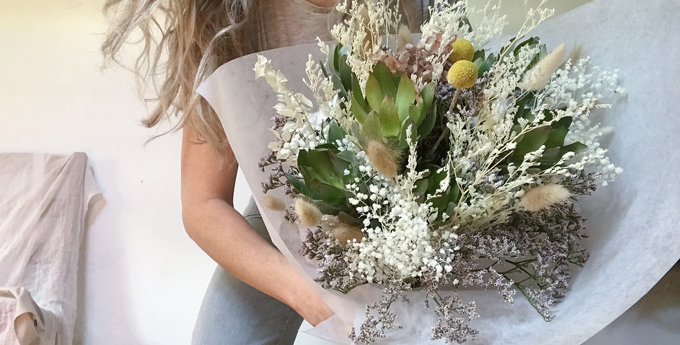 Large Wrapped Floral Gift Arrangement -Dried and Preserved Flowers