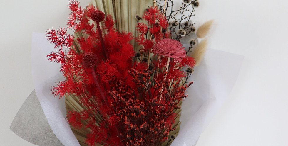 Romance Posy with Dark Glass Vase