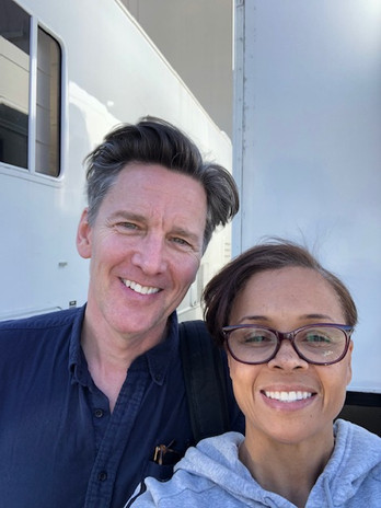 On Good Girls set with director Andrew McCarthy, who also plays Mr. Fitzpatrick