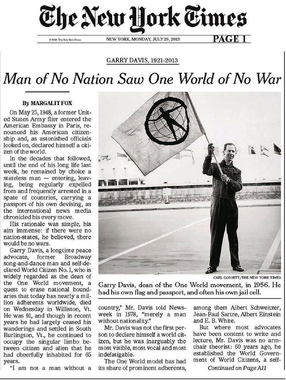 Garry Davis in the New York Times