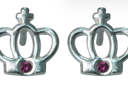 Sterling Silver Crown Design Stud Earrings With Rose Cubic Zirconia