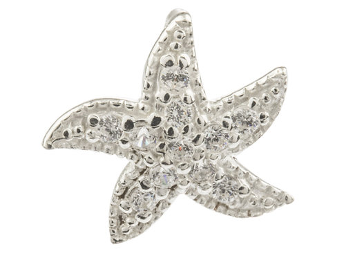 Sterling Silver Starfish Pendant Set With Cubic Zirconia