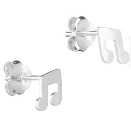 Sterling Silver Music Note Design Stud Earrings