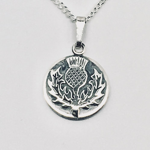 Sterling Silver thistle round pendant