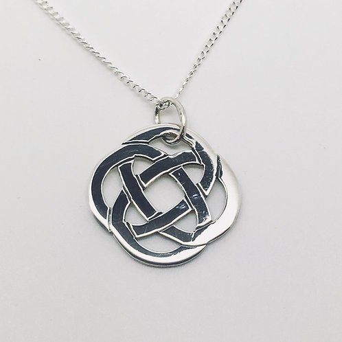 Sterling Silver large round celtic pendant