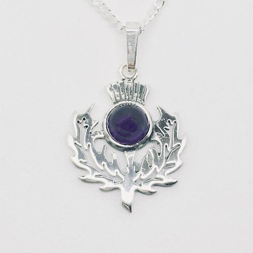 Sterling silver Thistle stoneset pendant