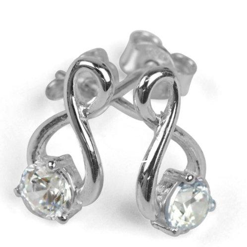 Sterling Silver Earrings Cubic Zirconia Twist
