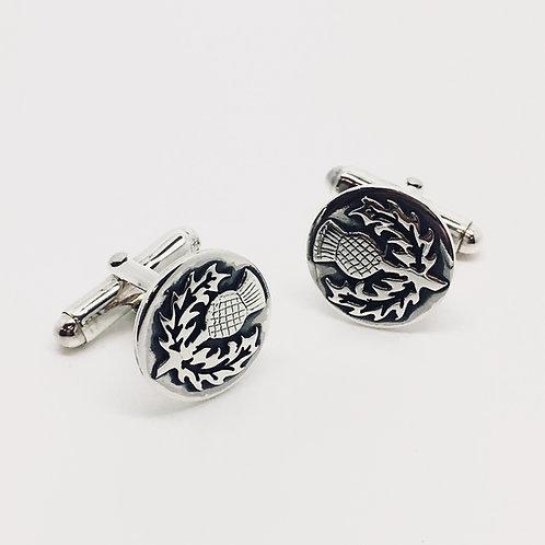 Sterling Silver Thistle Cufflinks