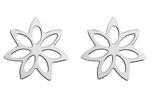 Sterling Silver Flower Design Stud Earrings