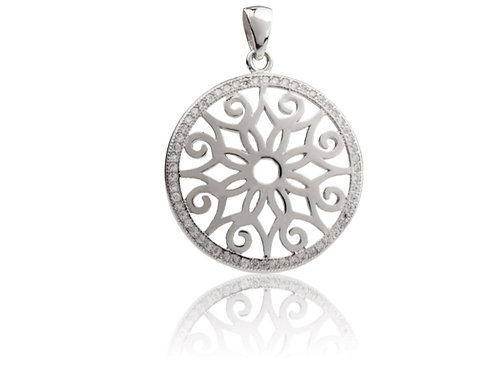 Sterling Silver Round Filigree Pendant Set With Cubic Zirconia